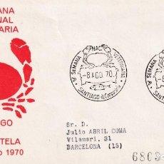 Sellos: VETERINARIA V SEMANA NACIONAL, SANTIAGO COMPOSTELA (LA CORUÑA) 1970. RARO MATASELLOS SOBRE ALFIL MPM. Lote 211467232