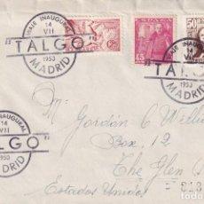 Sellos: TRENES FERROCARRIL TALGO VIAJE INAUGURAL, MADRID 1950. RARO MATASELLOS EN SOBRE CIRCULADO A USA. MPM. Lote 211467565