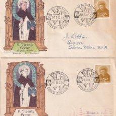 Sellos: RARA VARIEDAD RELIGION SAN VICENTE FERRER 1955 V CENTENARIO (EDIFIL 1183) SOBRE PRIMER DIA ALFIL MPM. Lote 211470640