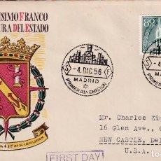 Sellos: GENERAL FRANCO XX ANIVERSARIO EXALTACION A JEFATURA ESTADO 1956 (EDIFIL 1199) SPD CIRCULADO SFC. MPM. Lote 211658354