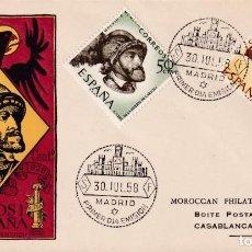 Sellos: CARLOS I DE ESPAÑA Y V DE ALEMANIA IV CENTENARIO 1958 (EDIFIL 1224/25) EN SPD CIRCULADO DEL SFC RARO. Lote 211661795