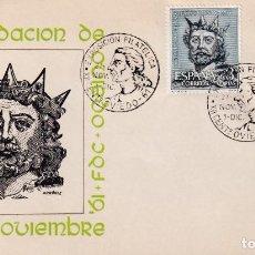 Sellos: EXPOSICION XII CENTENARIO FUNDACION, OVIEDO (ASTURIAS) 1961. RARO MATASELLOS SOBRE ARRONIZ VERDE MPM. Lote 211921496