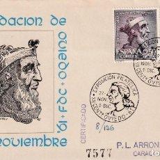 Sellos: EXPOSICION XII CENTENARIO FUNDACION, OVIEDO (ASTURIAS) 1961. RARO MATASELLOS SOBRE ARRONIZ AZUL. MPM. Lote 211921923