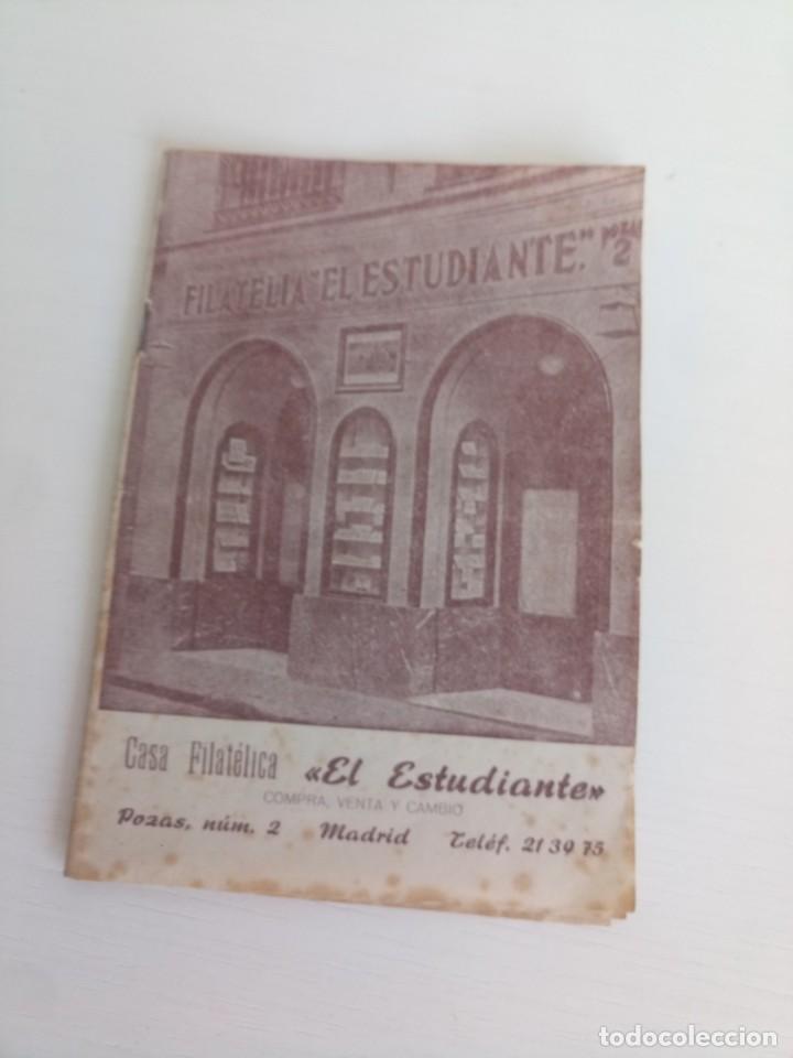 ANTIGUO LIBRETO FILATELIA EL ESTUDIANTE SELLOS MADRID (Sellos - Historia Postal - Sello Español - Sobres Primer Día y Matasellos Especiales)
