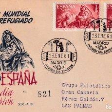 Sellos: RELIGION PINTURA BAYEU AÑO MUNDIAL DEL REFUGIADO 1961 (EDIFIL 1326 DOS SELLOS) EN SPD CIRCULADO SFC.. Lote 212026443