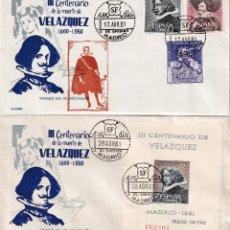 Sellos: RARA VARIEDAD PINTURA VELAZQUEZ 1961 III CENTENARIO (EDIFIL 1340/42) EN SOBRE PRIMER DIA ALONSO RARO. Lote 212029627