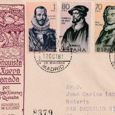 Sellos: FORJADORES DE AMERICA 1961 (EDIFIL 1374/77) SOBRE PRIMER DIA CIRCULADO DEL SERVICIO FILATELICO. MPM.. Lote 212076413