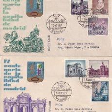 Sellos: CAPITALIDAD DE MADRID IV CENTENARIO 1961 (EDIFIL 1388/93) EN DOS SPD CIRCULADOS DE ARRONIZ RAROS ASI. Lote 212335196