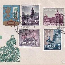 Sellos: CAPITALIDAD DE MADRID IV CENTENARIO 1961 (EDIFIL 1388/93) EN SOBRE PRIMER DIA DE ARRONIZ. RARO ASI.. Lote 212335458