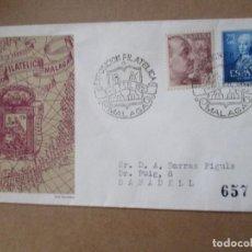 Sellos: EXPOSICION FILATELIA 1953 MALAGA CIRCULADA A SABADELL CON FECHADOR LLEGADA AL DORSO. Lote 213625560