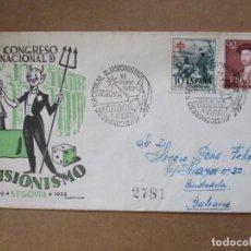 Sellos: CONGRESO ILUSIONISMO 1953 DE SEGOVIA A CIUDADELA MENORCA BALEARES CON FECHADOR LLEGADA AL DORSO. Lote 213625920