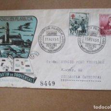 Sellos: EXPO FILATELICA 1953 DE SANT MARTI DE PROVENSALS A CIUDADELA MENORCA CON FECHADOR LLEGADA AL DORSO. Lote 213626618