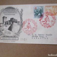 Sellos: ISABEL LA CATOLICA 1951 DE MEDINA DEL CAMPO VALLADOLID A SABADELL BARCELONA CON FECHADOR LLEGADA. Lote 213628372