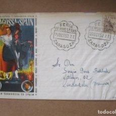 Sellos: FERIA DE MUESTRAS DE ZARAGOZA 1952 A CIUDADELA MENORCA BALEARES. Lote 213639707