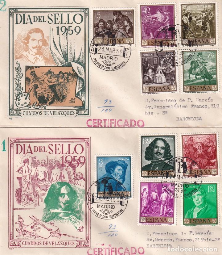 PINTURA DIEGO VELAZQUEZ 1959 (EDIFIL 1238/47) EN DOS SOBRES PRIMER DIA CIRCULADOS DE DP. RAROS ASI. (Sellos - Historia Postal - Sello Español - Sobres Primer Día y Matasellos Especiales)