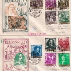 Sellos: PINTURA DIEGO VELAZQUEZ 1959 (EDIFIL 1238/47) EN DOS SOBRES PRIMER DIA CIRCULADOS DE DP. RAROS ASI.. Lote 213655595