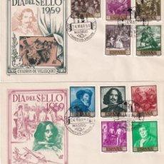 Sellos: PINTURA DIEGO VELAZQUEZ 1959 (EDIFIL 1238/47) EN DOS SOBRES PRIMER DIA SIN CIRCULAR DE DP. RAROS ASI. Lote 213655666
