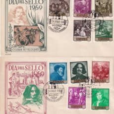 Sellos: PINTURA DIEGO VELAZQUEZ 1959 (EDIFIL 1238/47) EN DOS SOBRES PRIMER DIA DE ALONSO BONITOS Y RAROS ASI. Lote 213656665