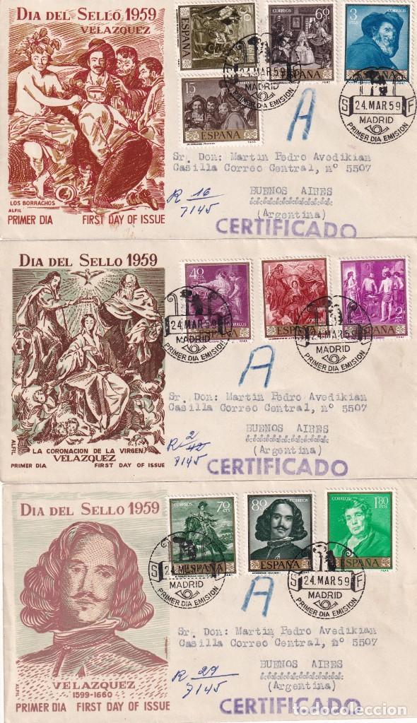 PINTURA DIEGO VELAZQUEZ 1959 (EDIFIL 1238/47) EN TRES SOBRES PRIMER DIA ALFIL CIRCULADOS A ARGENTINA (Sellos - Historia Postal - Sello Español - Sobres Primer Día y Matasellos Especiales)