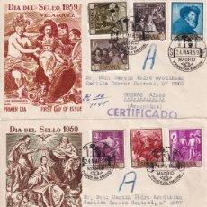 Sellos: PINTURA DIEGO VELAZQUEZ 1959 (EDIFIL 1238/47) EN TRES SOBRES PRIMER DIA ALFIL CIRCULADOS A ARGENTINA. Lote 213656885