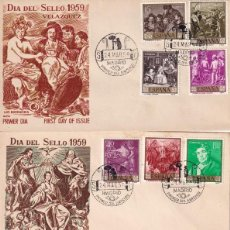 Sellos: PINTURA DIEGO VELAZQUEZ 1959 (EDIFIL 1238/47) EN TRES SOBRES PRIMER DIA SIN CIRCULAR DE ALFIL. RAROS. Lote 213656958