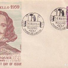 Sellos: LA FRAGUA DE VULCANO PINTURA DIEGO VELAZQUEZ 1959 (EDIFIL 1246) EN SOBRE PRIMER DIA DE ALFIL. RARO.. Lote 213657073