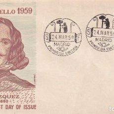 Sellos: ESOPO PINTURA DIEGO VELAZQUEZ 1959 (EDIFIL 1245) EN SOBRE PRIMER DIA DE ALFIL. RARO ASI.. Lote 213657181