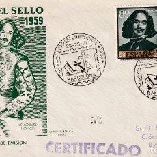 Sellos: PINTURA VELAZQUEZ RELIGION SELLO MISIONAL III EXPOSICION, BARCELONA 1959. MATASELLOS SOBRE CIRCULADO. Lote 213657875