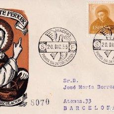 Sellos: RELIGION SAN VICENTE FERRER V CENTENARIO 1955 (EDIFIL 1183 DOS SELLOS) EN SPD CIRCULADO DEL SFC RARO. Lote 213738313