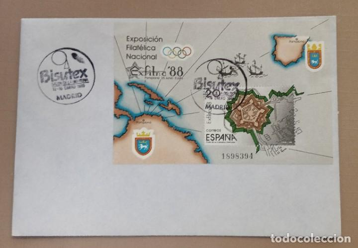 SOBRE CON HOJA BLOQUE EXFILNA 88 Y MATASELLO OFICINA TEMPORAL BISUTEX (Sellos - Historia Postal - Sello Español - Sobres Primer Día y Matasellos Especiales)