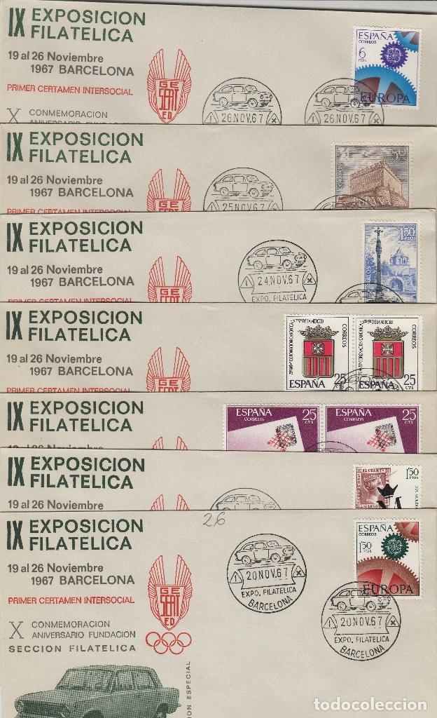 1967 BARCELONA IX EXPOSICION FILAT GRUPO SEAT , MATASELLOS CALENDARIO . SOBRE (Sellos - Historia Postal - Sello Español - Sobres Primer Día y Matasellos Especiales)