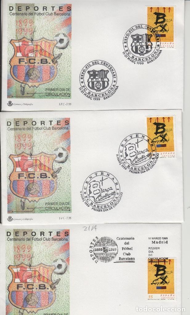 Sellos: 1999 BARCELONA . CENTENARIO FUTBOL CLUB BARCELONA EXPOFIL, DEPORTES. LOTE SOBRE SFC. 8 MATASELLOS - Foto 2 - 214297908