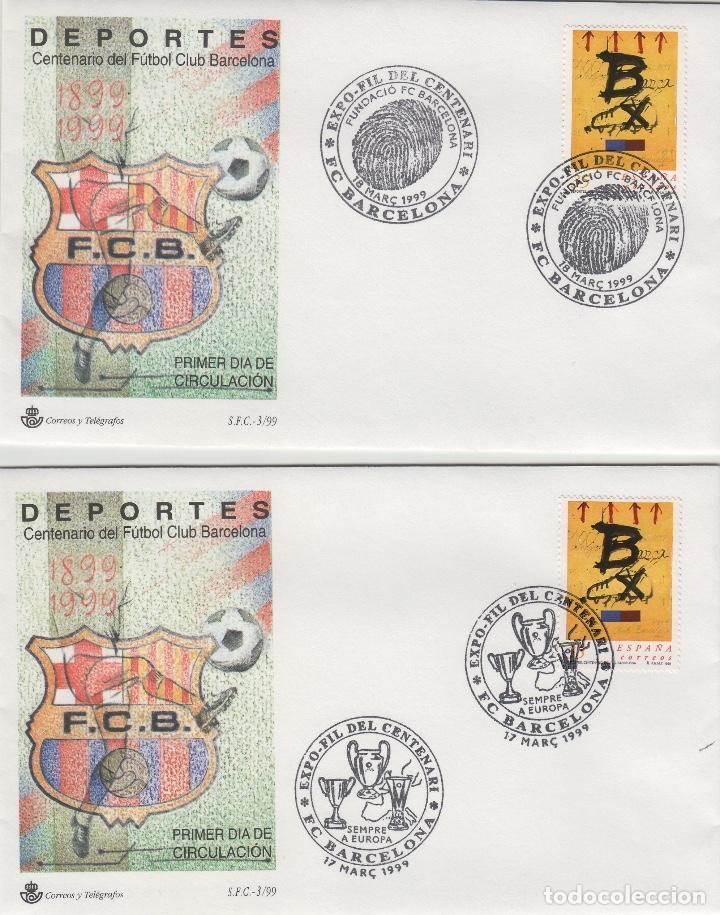 Sellos: 1999 BARCELONA . CENTENARIO FUTBOL CLUB BARCELONA EXPOFIL, DEPORTES. LOTE SOBRE SFC. 8 MATASELLOS - Foto 4 - 214297908