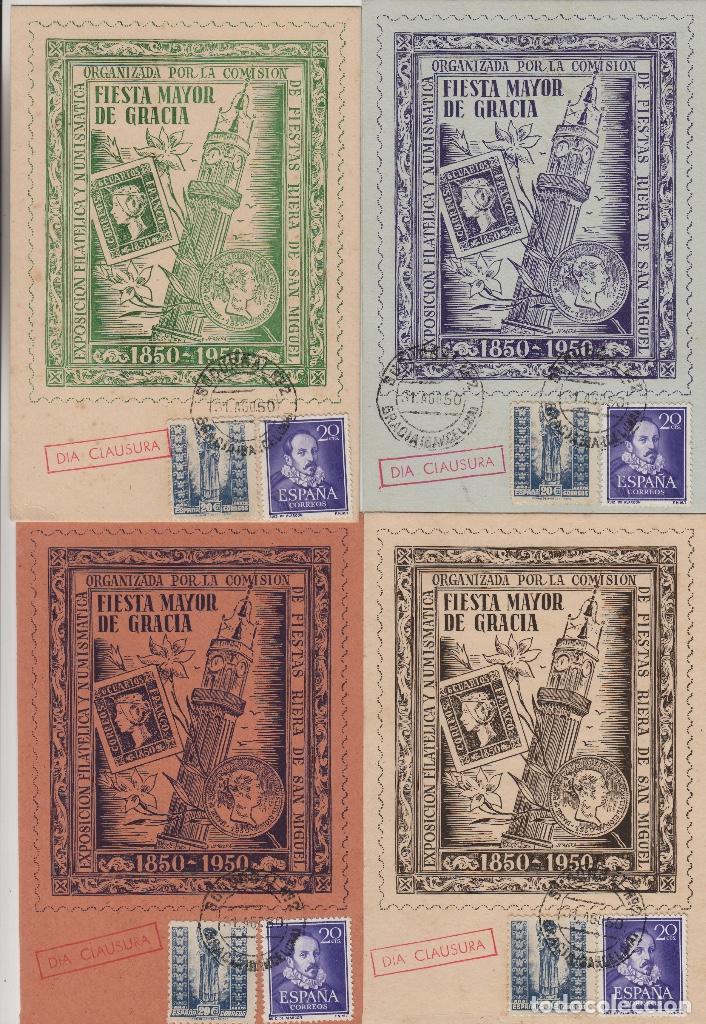1950 , BARCELONA , CENTENARIO EXPOSICION FILATÉLICA . FIESTAS DE GRACIA . TARJETAS CIRCULADAS (Sellos - Historia Postal - Sello Español - Sobres Primer Día y Matasellos Especiales)
