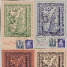 Sellos: 1950 , BARCELONA , CENTENARIO EXPOSICION FILATÉLICA . FIESTAS DE GRACIA . TARJETAS CIRCULADAS. Lote 214378971