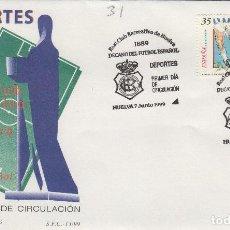 Francobolli: 1999. ED 3644 DEPORTES , FUTBOL REAL CLUB RECREATIVO DE HUELVA . SOBRE PRIMER DIA SPD. Lote 214385927