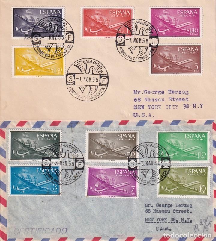 AVION SUPER CONSTELLATION Y NAO SANTA MARIA 1955 1956 (EDIFIL 1169/79) DOS RAROS SPD CIRCULADOS. MPM (Sellos - Historia Postal - Sello Español - Sobres Primer Día y Matasellos Especiales)