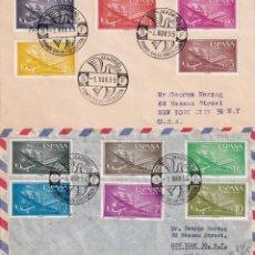 Sellos: AVION SUPER CONSTELLATION Y NAO SANTA MARIA 1955 1956 (EDIFIL 1169/79) DOS RAROS SPD CIRCULADOS. MPM. Lote 214579315