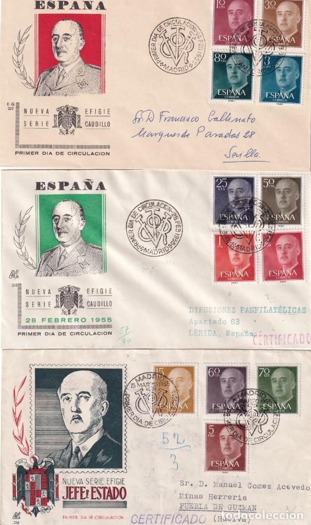 GENERAL FRANCO 1955 1956 (EDIFIL 1143/63) EN CINCO SOBRES PRIMER DIA ILUSTRADOS BONITOS Y RAROS. MPM (Sellos - Historia Postal - Sello Español - Sobres Primer Día y Matasellos Especiales)