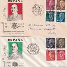 Sellos: GENERAL FRANCO 1955 1956 (EDIFIL 1143/63) EN CINCO SOBRES PRIMER DIA ILUSTRADOS BONITOS Y RAROS. MPM. Lote 214580202