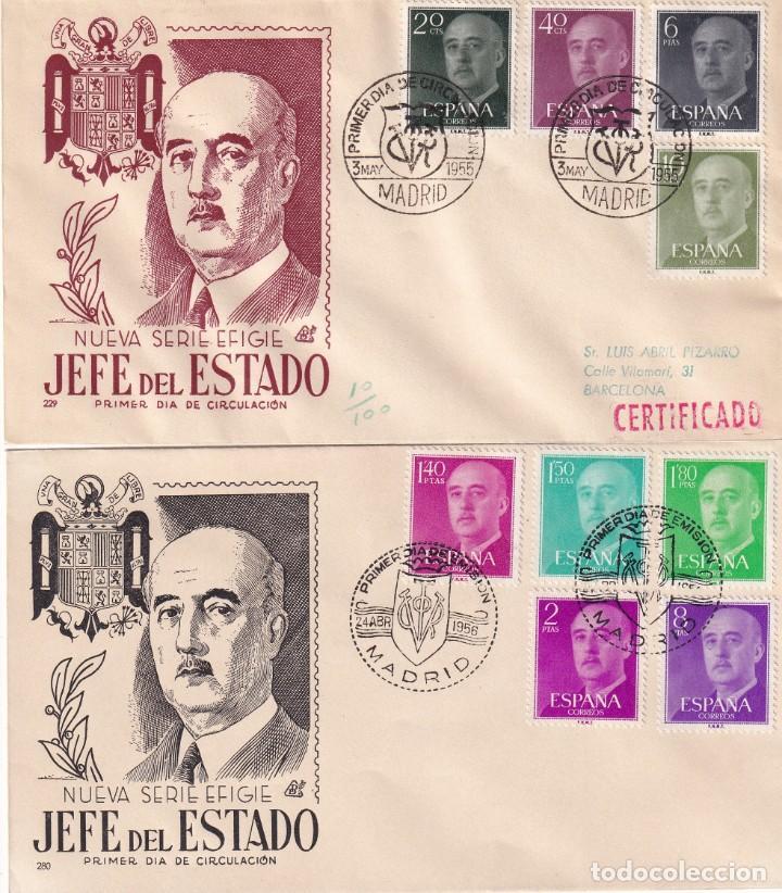 Sellos: GENERAL FRANCO 1955 1956 (EDIFIL 1143/63) EN CINCO SOBRES PRIMER DIA ILUSTRADOS BONITOS Y RAROS. MPM - Foto 2 - 214580202