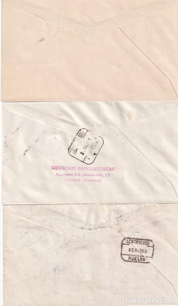 Sellos: GENERAL FRANCO 1955 1956 (EDIFIL 1143/63) EN CINCO SOBRES PRIMER DIA ILUSTRADOS BONITOS Y RAROS. MPM - Foto 3 - 214580202