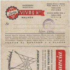 Sellos: TARJETA COMERCIAL - VIVAS HOS MÁLAGA , IGARRA MAQUINARIA INDUSTRIAL AÑOS 1940 TAMPON LA CASETILLA. Lote 214803890