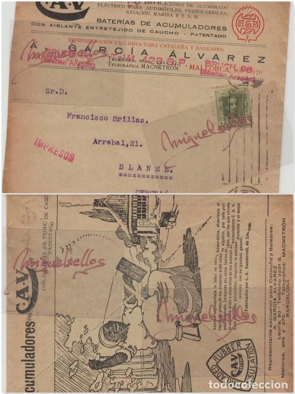 SOBRE COMERCIAL -BATERIAS ACUMULADORES C.A.V/CAV A. GARCÍA ÁLVAREZ , BARCELONA. AÑO 1927 CON ESCRITO (Sellos - Historia Postal - Sello Español - Sobres Primer Día y Matasellos Especiales)
