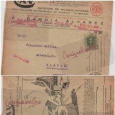 Sellos: SOBRE COMERCIAL -BATERIAS ACUMULADORES C.A.V/CAV A. GARCÍA ÁLVAREZ , BARCELONA. AÑO 1927 CON ESCRITO. Lote 214805792
