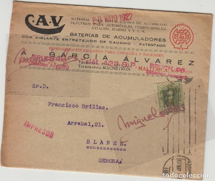 Sellos: SOBRE COMERCIAL -BATERIAS ACUMULADORES C.A.V/CAV A. GARCÍA ÁLVAREZ , BARCELONA. año 1927 con escrito - Foto 2 - 214805792