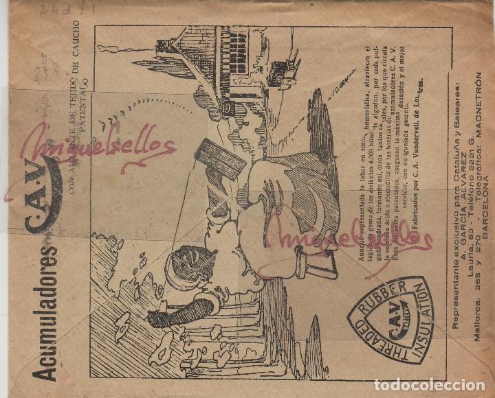Sellos: SOBRE COMERCIAL -BATERIAS ACUMULADORES C.A.V/CAV A. GARCÍA ÁLVAREZ , BARCELONA. año 1927 con escrito - Foto 3 - 214805792