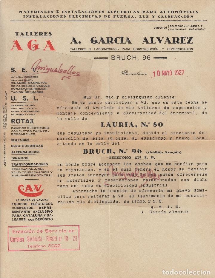 Sellos: SOBRE COMERCIAL -BATERIAS ACUMULADORES C.A.V/CAV A. GARCÍA ÁLVAREZ , BARCELONA. año 1927 con escrito - Foto 4 - 214805792