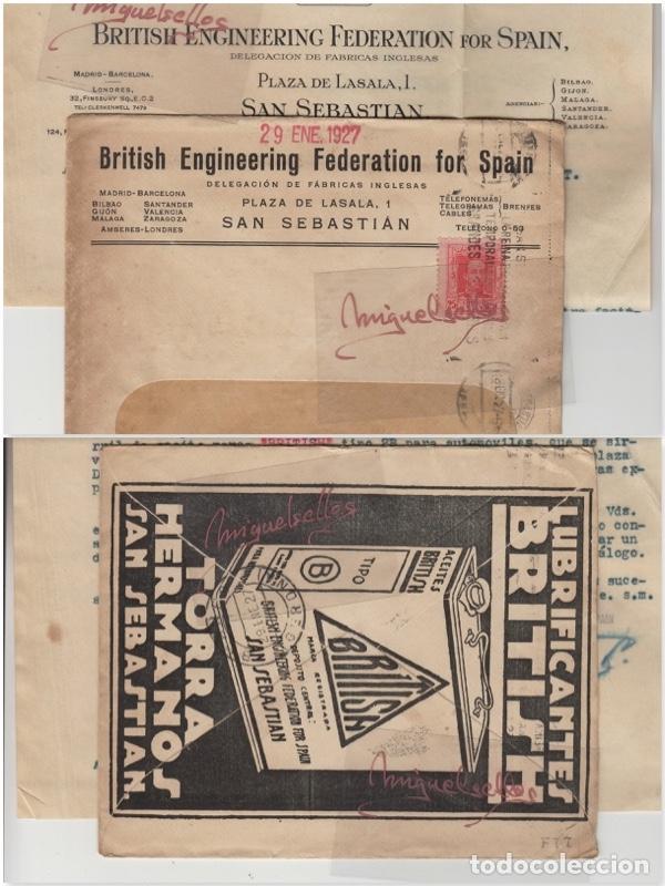 SOBRE COMERCIAL -ACEITES BRITISH TORRA HERMANOS SAN SEBASTIAN AÑO 1927 CON ESCRITO MAT RODILLO (Sellos - Historia Postal - Sello Español - Sobres Primer Día y Matasellos Especiales)