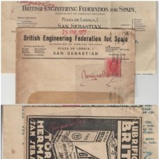 Sellos: SOBRE COMERCIAL -ACEITES BRITISH TORRA HERMANOS SAN SEBASTIAN AÑO 1927 CON ESCRITO MAT RODILLO. Lote 214806191